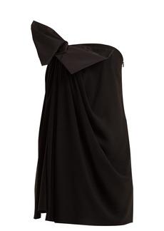 Saint Laurent Bow-embellished strapless crepe dress