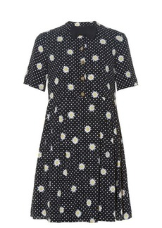 Saint Laurent Bow tie-embellished daisy-print dress