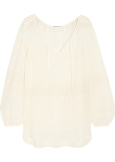 Yves Saint Laurent Saint Laurent Broderie anglaise georgette blouse