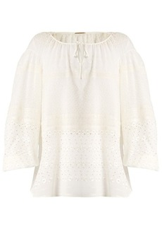 Saint Laurent Broderie-anglaise silk-blend georgette blouse