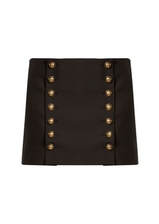 Saint Laurent Button-detail wool-gabardine mini skirt