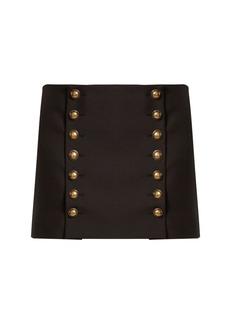 Yves Saint Laurent Saint Laurent Button-detail wool-gabardine mini skirt