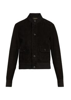 Yves Saint Laurent Saint Laurent Button-down suede bomber jacket