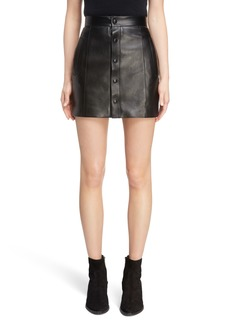 Yves Saint Laurent Saint Laurent Button Front Leather Skirt