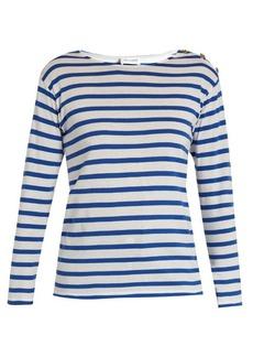 Saint Laurent Button-shoulder striped cotton T-shirt