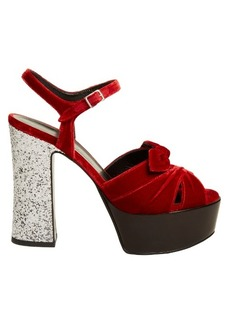 Yves Saint Laurent Saint Laurent Candy bow-detail velvet platform sandals
