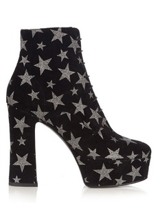 Saint Laurent Candy lace-up suede platform ankle boots