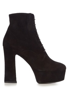 Saint Laurent Candy lace-up suede platform ankle boots