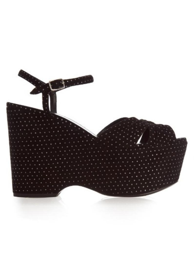 Yves Saint Laurent Saint Laurent Candy polka-dot suede wedge sandals