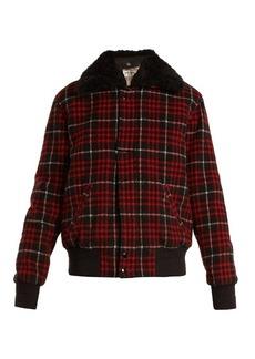 Yves Saint Laurent Saint Laurent Checked wool-blend bomber jacket