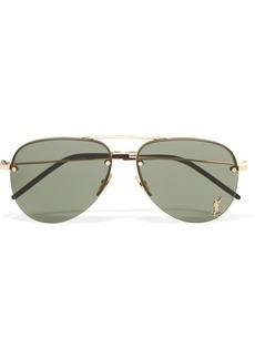 Yves Saint Laurent Classic 11 aviator-style gold-tone sunglasses