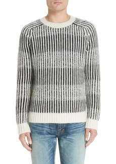 Yves Saint Laurent Saint Laurent Contrast Rib Wool & Alpaca Blend Sweater