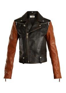 Yves Saint Laurent Saint Laurent Contrast shrunken-fit leather biker jacket