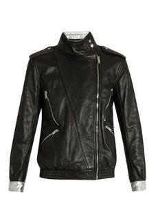 Saint Laurent Contrast-trim leather jacket