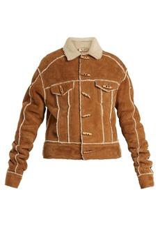 Saint Laurent Contrast-trim shearling jacket