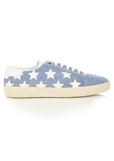Saint Laurent Court Classic star-appliqué denim trainers