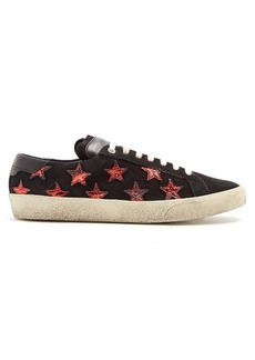 Saint Laurent Court Classic star-applique suede trainers