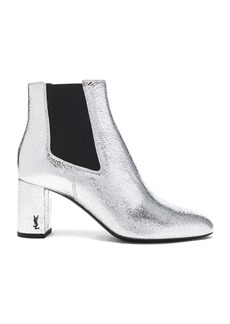 Saint Laurent Cracked Metallic Leather Loulou Pin Boots