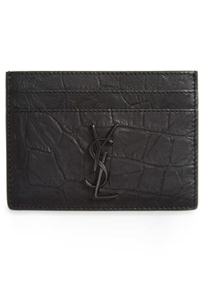 Yves Saint Laurent Saint Laurent Croc Embossed Calfskin Leather Card Case