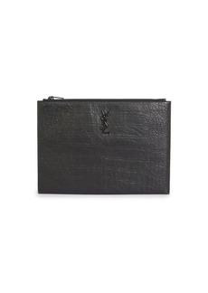 Yves Saint Laurent Croc-Embossed Leather iPad Holder