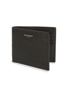Yves Saint Laurent Croc-Embossed Leather Wallet