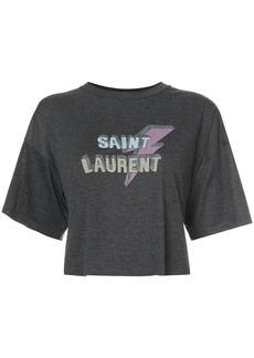 Yves Saint Laurent Saint Laurent cropped lightening bolt T-shirt - Grey