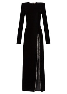 Yves Saint Laurent Saint Laurent Crystal-embellished slit-front velvet gown