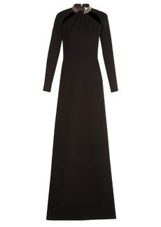 Yves Saint Laurent Saint Laurent Crystal-embellished twist-neck gown