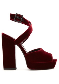 Yves Saint Laurent Saint Laurent Debbie platform-heel velvet sandals