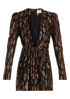 Saint Laurent Deep V-neck fil coupé silk-blend mini dress