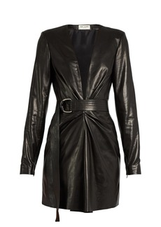 Yves Saint Laurent Saint Laurent Deep V-neck leather mini dress