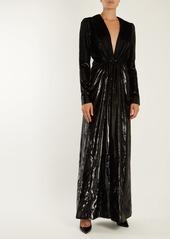 Saint Laurent Deep V-neck velvet-lamé gown