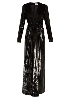 Saint Laurent Deep V-neck velvet-lamé gown