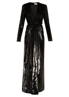 Yves Saint Laurent Saint Laurent Deep V-neck velvet-lamé gown