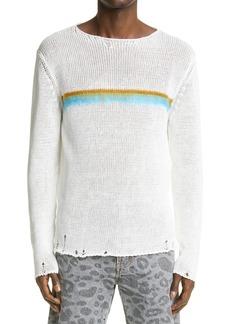 Yves Saint Laurent Saint Laurent Destroyed Stripe Linen Blend Sweater