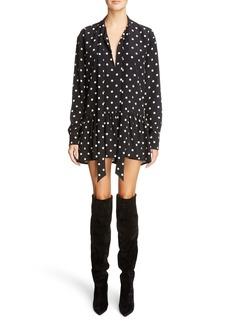 Yves Saint Laurent Saint Laurent Drop Waist Polka Dot Silk Dress