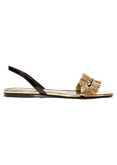 Saint Laurent Edie ruffle-trimmed snakeskin sandals