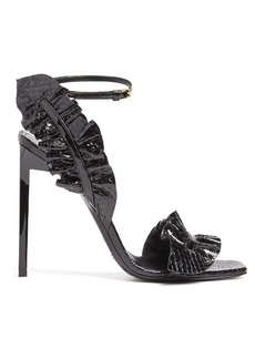 Saint Laurent Edie ruffle-trimmed snakeskin sandals