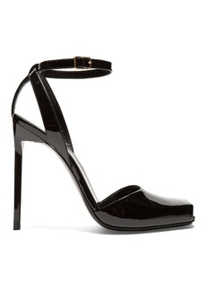 Saint Laurent Edie square-toe patent-leather sandals