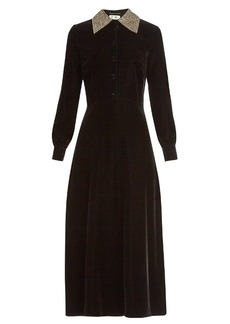Yves Saint Laurent Saint Laurent Embellished-collar velvet midi dress