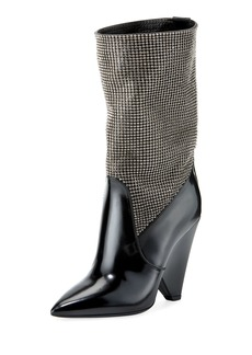 Saint Laurent Embellished Cone-Heel Mid-Calf Boot
