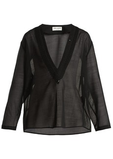 Saint Laurent Embellished deep V-neck wool-blend voile top