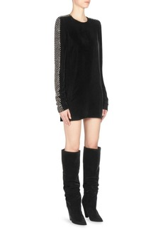 Saint Laurent Embellished Velvet Dress