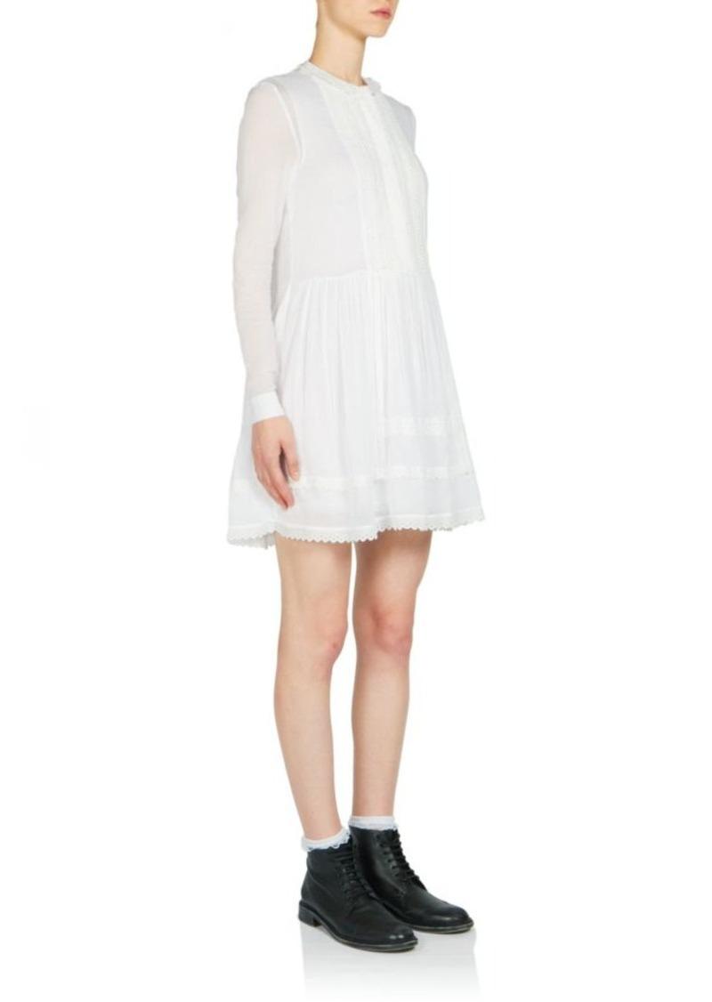 Saint Laurent Embroidered Cotton Mini Dress
