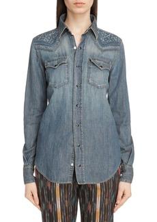Yves Saint Laurent Saint Laurent Embroidered Denim Western Shirt