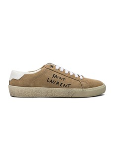 Saint Laurent Embroidered Suede Court Classic Sneakers
