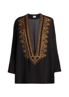 Yves Saint Laurent Saint Laurent Embroidered V-cut silk-georgette top