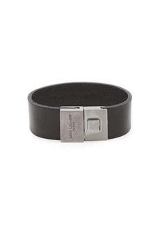 Yves Saint Laurent Saint Laurent Engraved-clasp leather bracelet