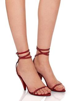 Saint Laurent Era Stud Trim Leather Ankle Strap Heels