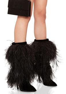 Saint Laurent Era Feather Embellished Velvet Yeti Boots